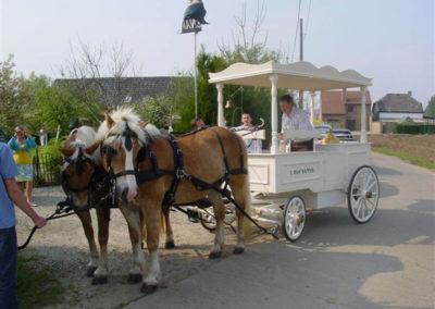 Ijskoets met paarden op een communiefeest